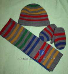 Комплект шапка, шарф, варежки для мальчика.