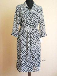 Шифоновое Стильное Черно-белое платье под пояс США120ye, р46-48  Распродажа