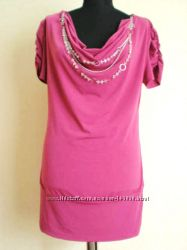 Розовое мини платье-туника цена снижена USA- Распродажа