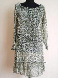 Леопардовое шифоновое кутюрное платье - туника USA - Распродажа