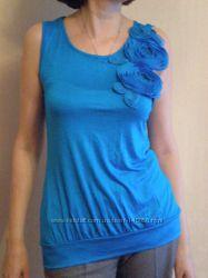 Яркая голубая трикотажная блузка viskoza USA, p 44-46-48