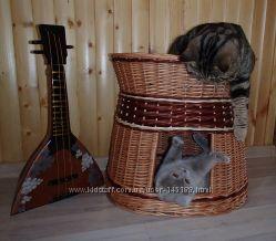 Двухярусный плетенный домик для питомцев