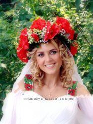 Эксклюзивные веночки, аксессуары украшенные цветами, перьями