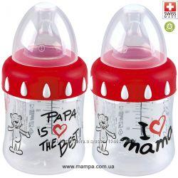 Бутылочки BiBi-I Love Mama и Papa Is The Best, соска регулируемый поток 3в1