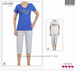 Комплект Vienetta, футболка, капри р. S