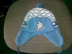 Зимняя  шапка с шарфом на мальчика 45-49