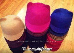фетровая кепка шляпка жокейка с ушками Cat Hat