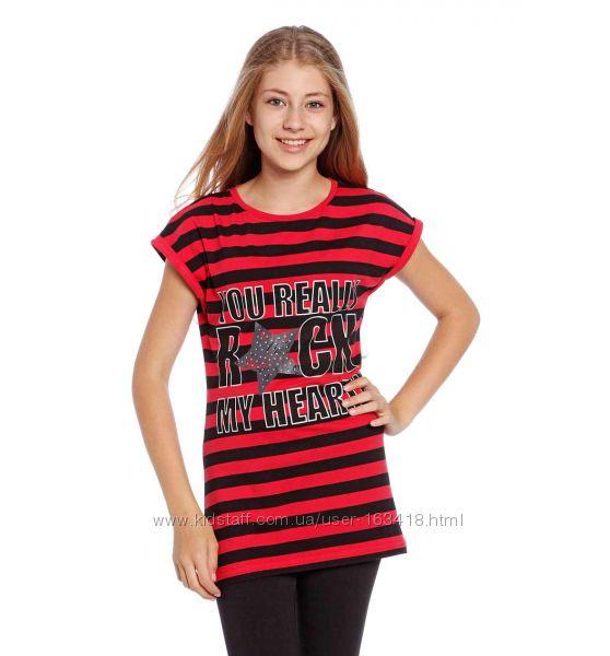 Удлинённая стильная футболочка на девочку .