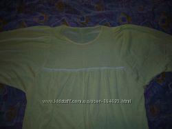 Хлопковая трикотажная желтая ночная рубашка, рукав 3 четверти. Новая, без б