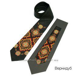 Красивейшие дизайнерские галстуки в стиле этно из натурального льна