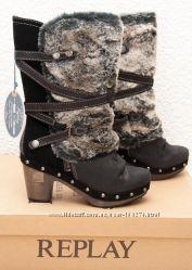 REPLAY оригинал новые утепленные кожаные сапоги р. 37