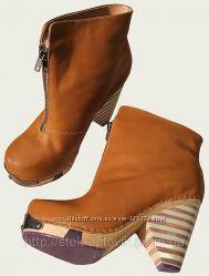яркие рыжие кожаные ботинки р. 37