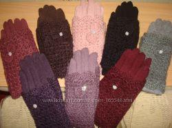 Моднявые кашемировые перчатки с ажурным довязом . Разные цвета. В наличии