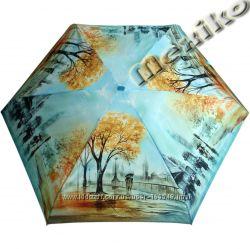 Лёгкий, механический плоский зонтик английской фирмы ZEST 3 слож. на 6 cпиц