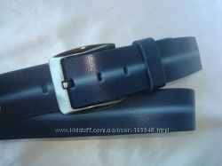 Стильный синий  кожаный ремень. Произв. Турция
