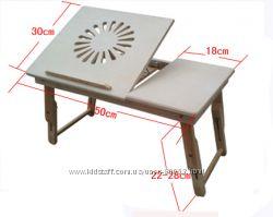 Подставка для ноутбука раскладной стол столик деревянный