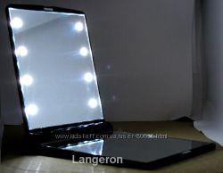 Зеркало с подсветкой зеркальце карманное косметическое 10х7см 8 светодиодов