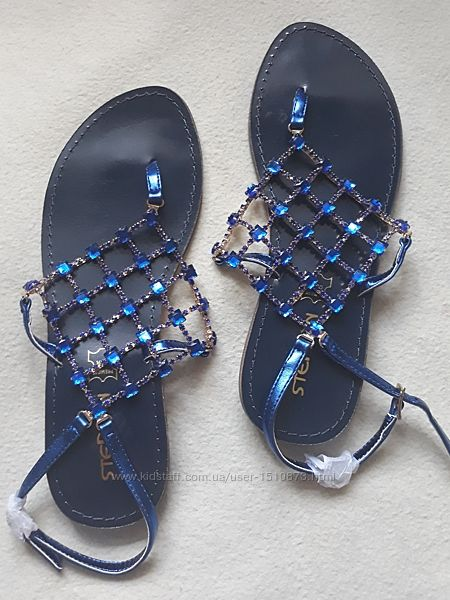 Новые блестящие босоножки сандалии с камнями Stephan р.38-39 Франция