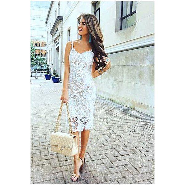 Новое белое кружевное платье футляр Sisters Point Франция