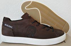 Diesel стиль Мужские черные кожаные кеды туфли кроссовки весна осень