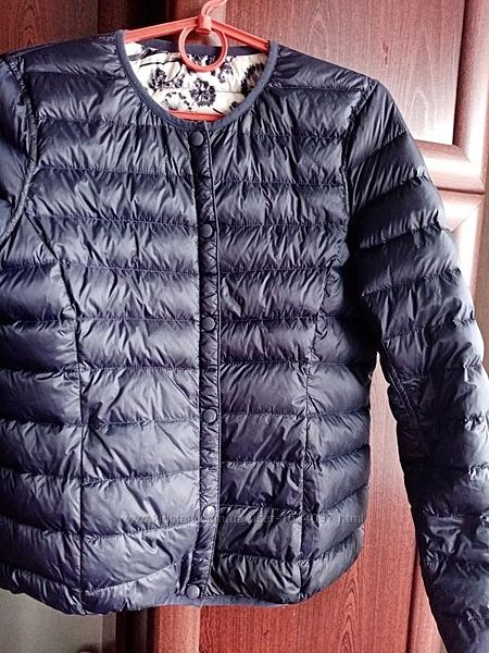 Двухсторонний пуховик куртка цветочный принт/тёмно-синий