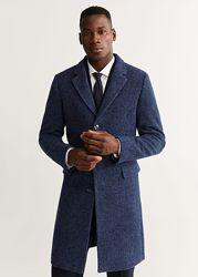 MANGO новое меланжевое пальто тренч из шерсти оригинал