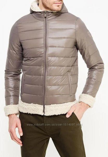 Стеганая утепленная куртка авиатор бомбер пуховик мужской с капюшоном