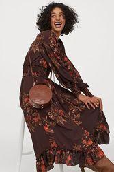 H&m длинное платье со сборками длинный рукав флористический принт