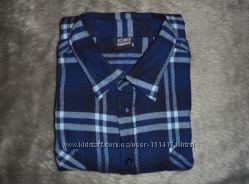 Рубашка мужская байковая теплая в клетку, размер 46 XXXL