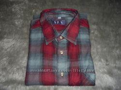 Рубашка мужская байковая демисезонная в клетку, размер М 39-40