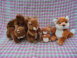 Игрушка мягкая белка лиса ежик Uni-Toys Teddy-Hermann