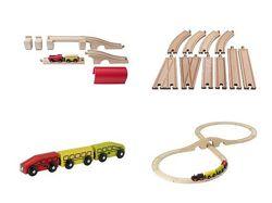 Игрушка деревянная железная дорога с поездом Ikea Икея, 10, 11, 20 деталей