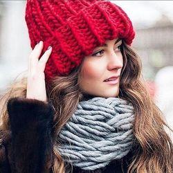 объёмная шапка бини токари яркая шерсть тёплая зимняя объём 53-57см