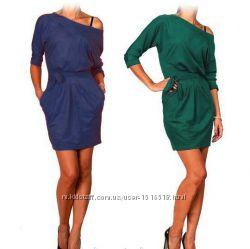 Замшевое платье малахитового цвета Exclusive