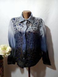 Блузка рубашка из органзы амбре с вышивкой бисером Индия