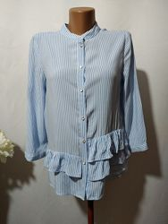 Стильная рубашка в полоску из вискозы с воланами Zara