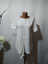 Блузка с декором из комбинированных тканей Massimo Dutti