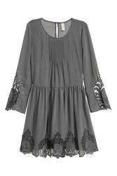 Шифоновое платье с кружевом H&M