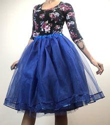фатиновая синяя юбка пачка по колено