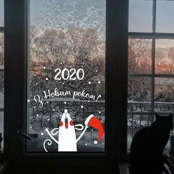Новогодние наклейки для декора окна, снежинки, снеговики, зверята