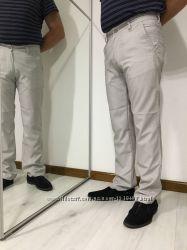 Мужские летние брюки, светлые джинсы, прямые узкие штаны, M