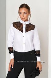 Эффектная офисная блуза с кружевными вставками