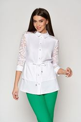 Блуза с рукавом гипюр