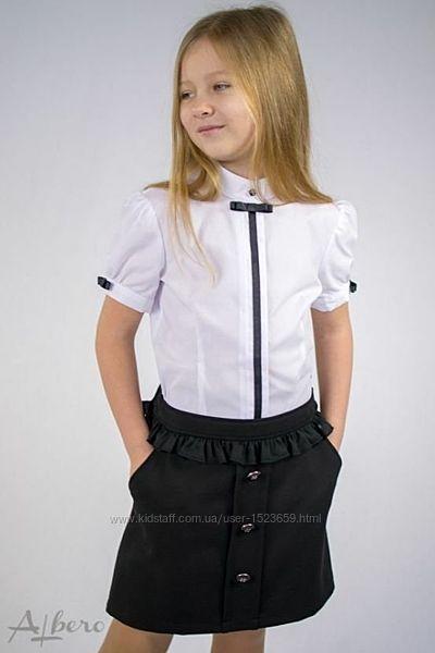 Школа. Блузки для дівчинки, короткий рукав. Розміри 122- 158