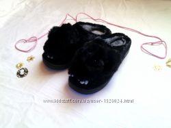 Меховые тапочки теплые зайчик 38 размер черные c лапками