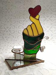 витражный подарок органайзер подставка под украшения подсвечник