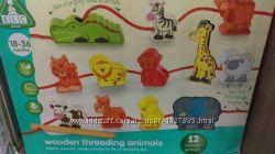 Деревянный набор шнуровка Threading Animals Set
