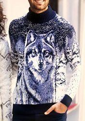 Зимний теплый шерстяной свитер Pulltonic Турция с волком