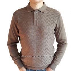Мужской хлопковый свитер кофейный с отложным воротом на кнопках