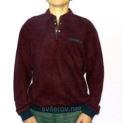 Мужской бордовый свитер Caporicco Турция с воротом поло на кнопках